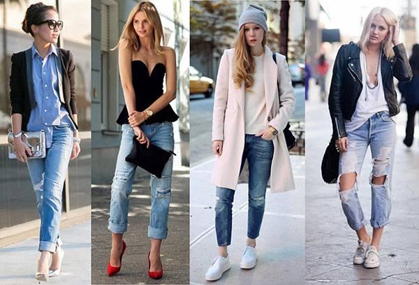 Комбинирование рваных джинсов с другой одеждой
