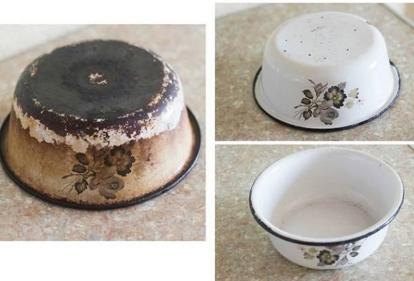 очищенная эмалированная посуда