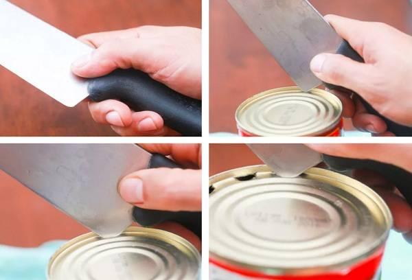 Открыть банку с помощью шеф ножа