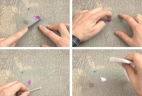 лак для ногтей на кожаном изделии