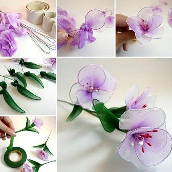 Цветок из капроновых колготок