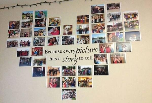 Сердечко из фотографий на стене