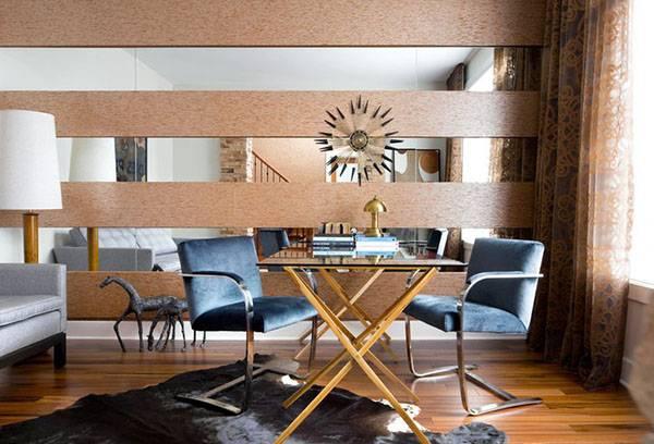Зеркальные вставки в гостиной