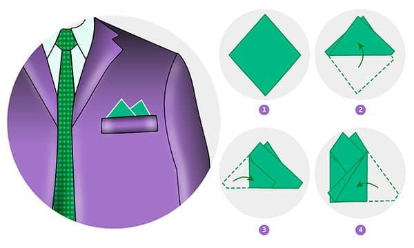 Схема складывания нагрудного платка