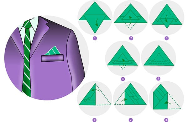 Сложный вариант складывания нагрудного платочка