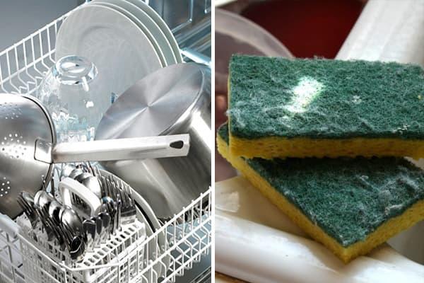Посудомойка и губки для мытья посуды