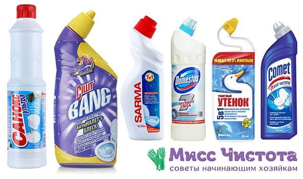 Популярные средства для чистки унитазов