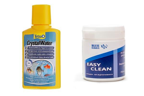 Химические средства для чистки аквариума