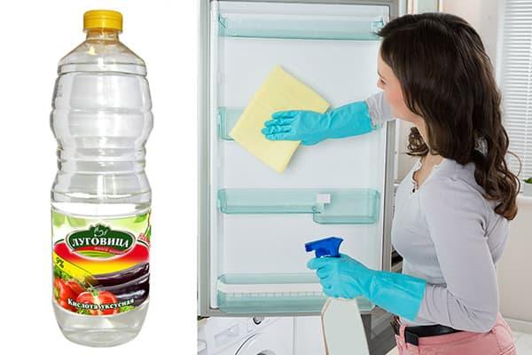 Мытье холодильника уксусом