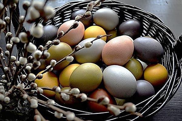 Яйца, окрашенные натуральными красителями