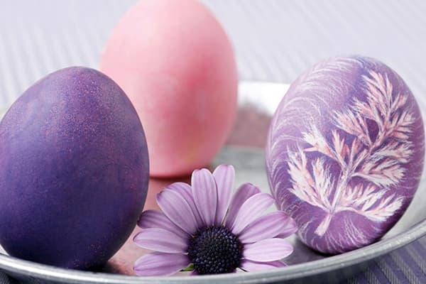 Пасхальные яйца лавандового цвета