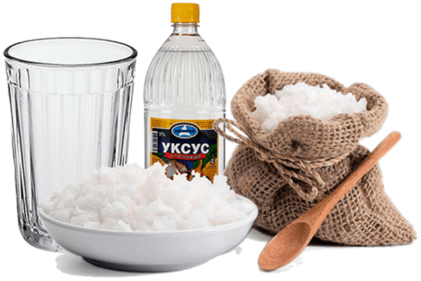 Соль, уксус и стеклянный стакан