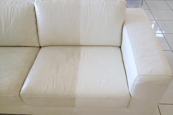 Чистка светлого дивана из экокожи