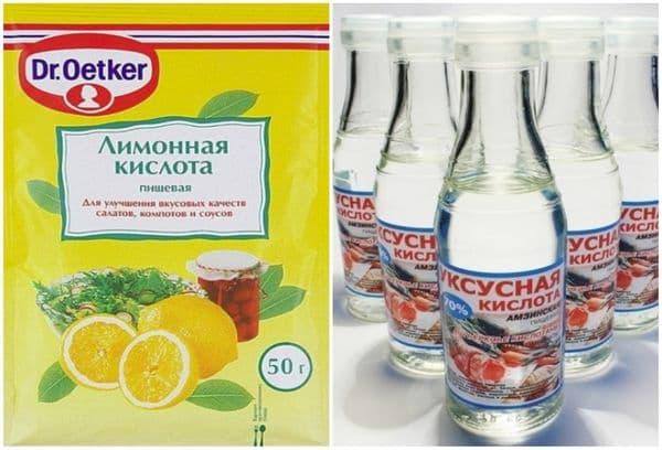 Лимонный сок и уксусная кислота