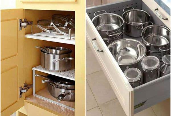 сковородки и кастрюли на кухне