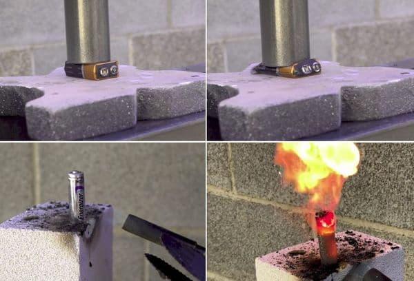 батарейка в огне