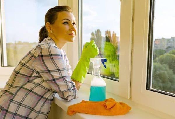 Девушка чистит окна