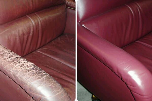 Кожаный диван до и после покраски