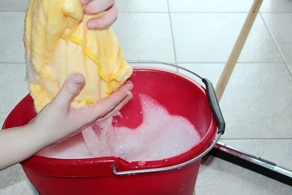 Женщина выжимает тряпку перед мытьем