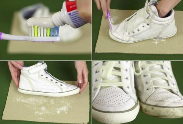чистка обуви зубной пастой