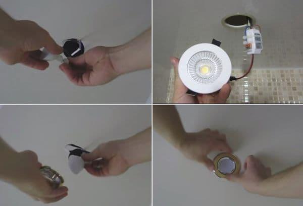 Замена галогеновых точечных ламп