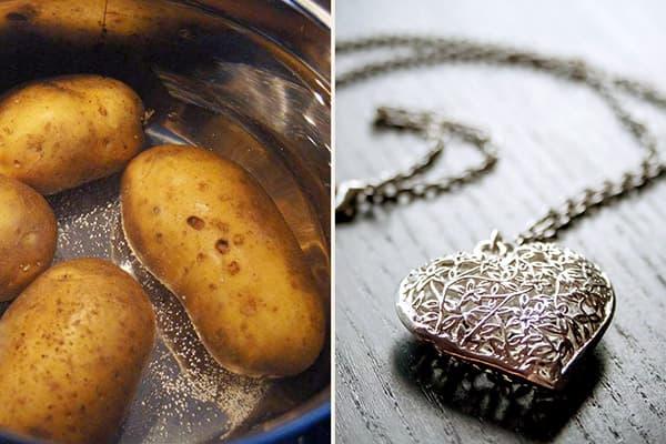 Картофельный отвар для чистки серебра