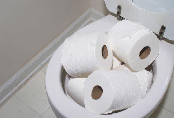 Рулоны туалетной бумаги в унитазе