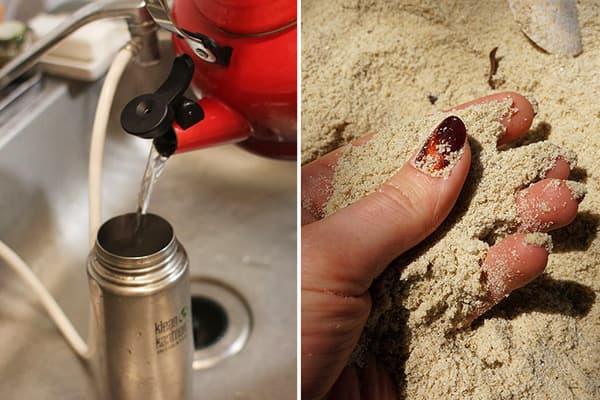 Чистка термоса песком