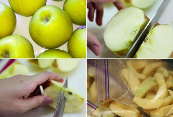 Заморозка яблок дольками