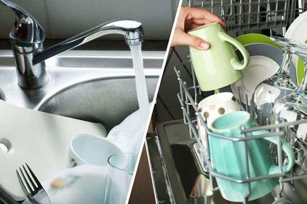 Мытье посуды вручную и в посудомойке