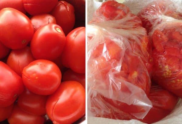 Заморозка томатов целиком