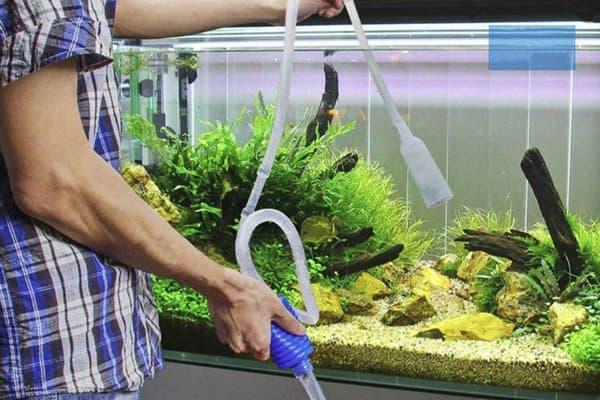 Чистка аквариума перед подменой воды