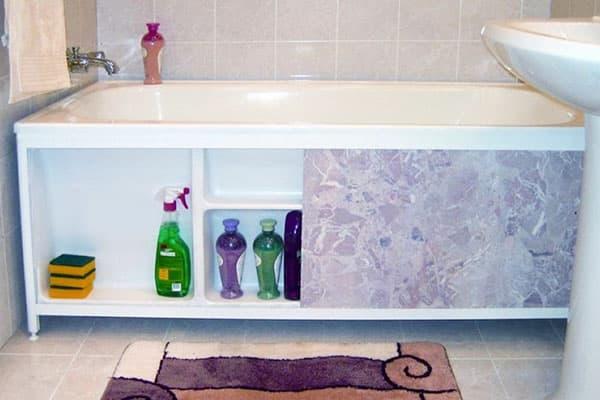 Экран с раздвижными дверцами под ванной
