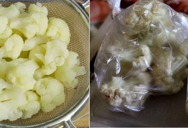 Заморозка бланшированной цветной капусты