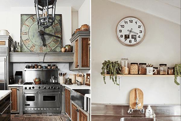 Квадратные и круглые настенные часы для кухни