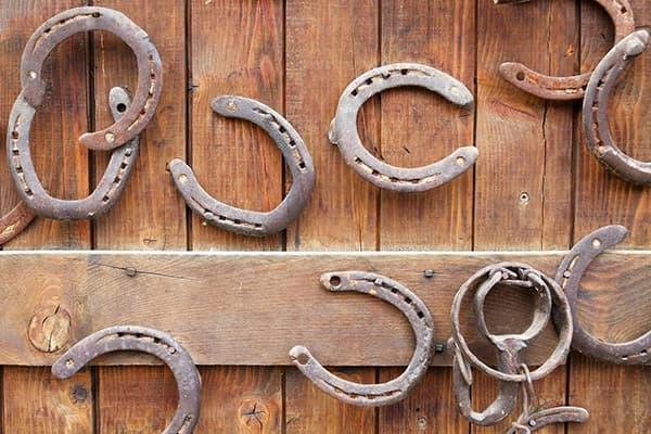 Подковы на двери конюшни
