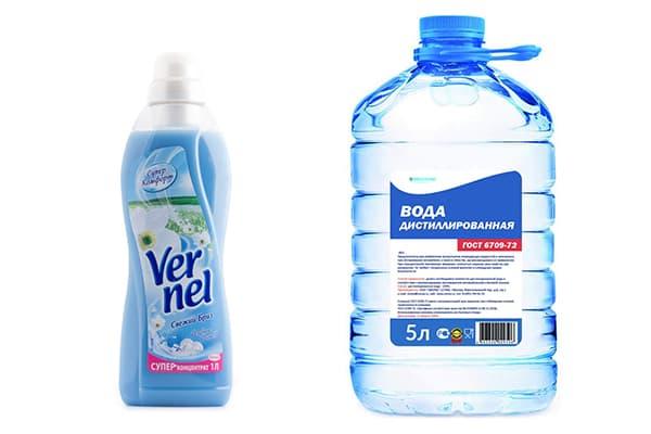 Ополаскиватель Vernel и дистиллированная вода