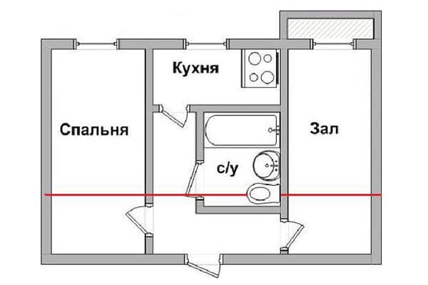 Туалет в центре квартиры