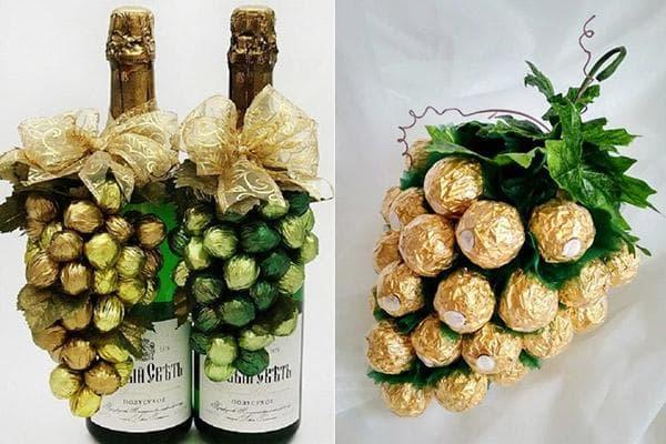 Ананас из конфет и шампанского- пошаговый мастер-класс