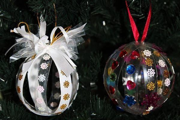 Новогодние украшения из пластиковых бутылок