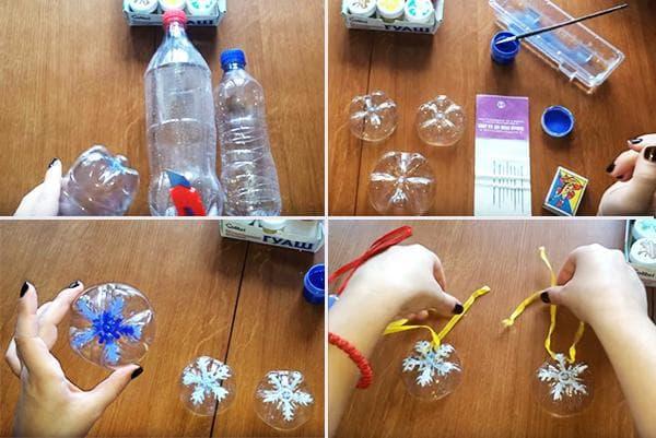 Изготовление елочной игрушки со снежинкой из пластиковой бутылки