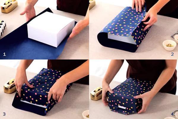 Инструкция по упаковке подарочной коробки в бумагу