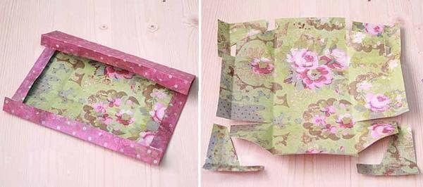 Шаблон из упаковочной бумаги для оклейки коробки