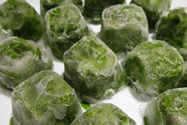Зеленый лук, замороженный в кубиках льда
