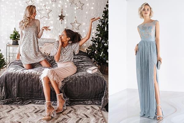 Девушки в серебристых новогодних платьях