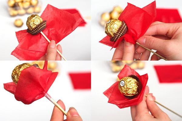 Создание цветка из конфеты, шпажки и декоративной бумаги