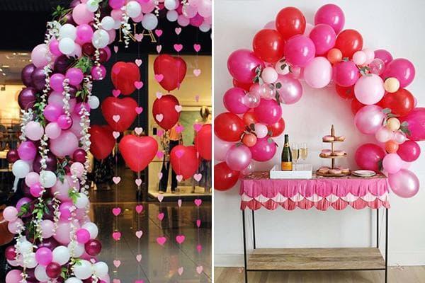 Декор из воздушных шаров и сердечек