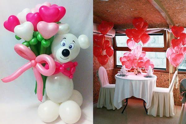 Композиции из воздушных шаров ко Дню святого Валентина