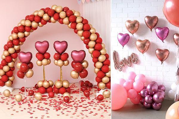 Матовые и металлизированные воздушные шары к 14 февраля