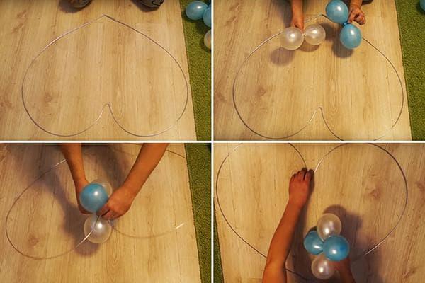 Закрепление воздушных шаров на каркасе в виде сердца